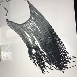 Jewelry - Ombre Grey fringe necklace